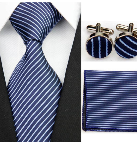 Reggio Navy Striped Tie Set – Wallsters Mens wear and accessories